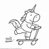 Unicorn Coloring Pages Scooter Riding Colouring Getcoloringpages Birthday Cartoon Template Animal Themed Unicorns Donuts Eating Animals Cake Watermark Pony sketch template
