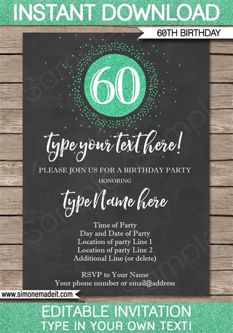 60th birthday invitation templates chalkboard 60th birthday invitations template editable printable diy
