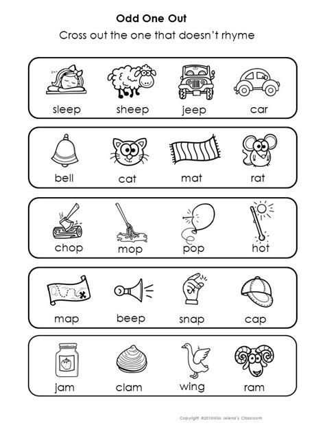 rhyming words odd   special education rhyming