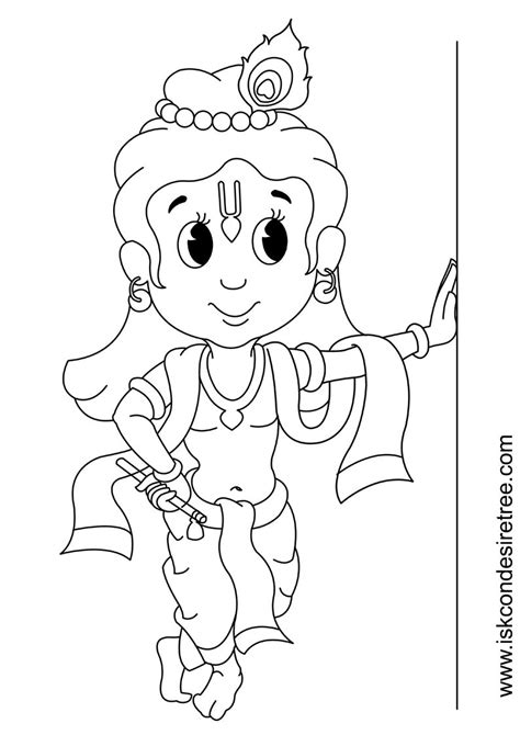 coloring page  kids  krishna party
