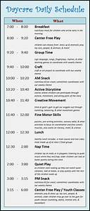 learning zone daycare schedule With child care daily routine template