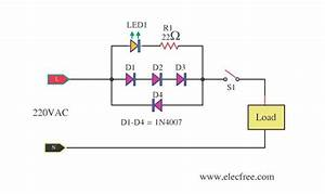 Mains Voltage Indicator With A Led   U2013 Electronic Projects Circuits