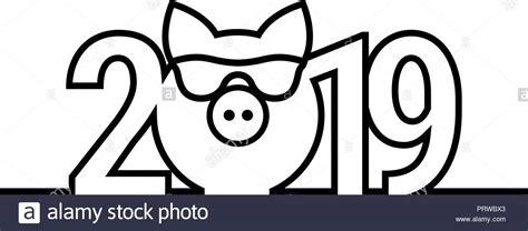 Pig Year 2019 Black And White Emblem. Vector Symbol. Merry