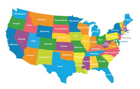usa political map colored regions map ephotopix