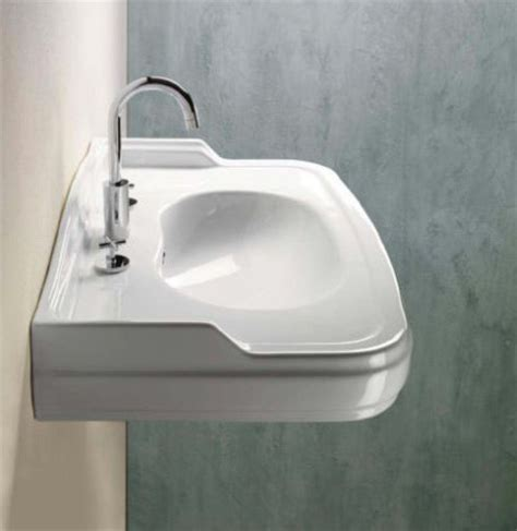 Classic Bathroom Sinks by Classic Curved White Ceramic Wall Mounted Sink By Gsi