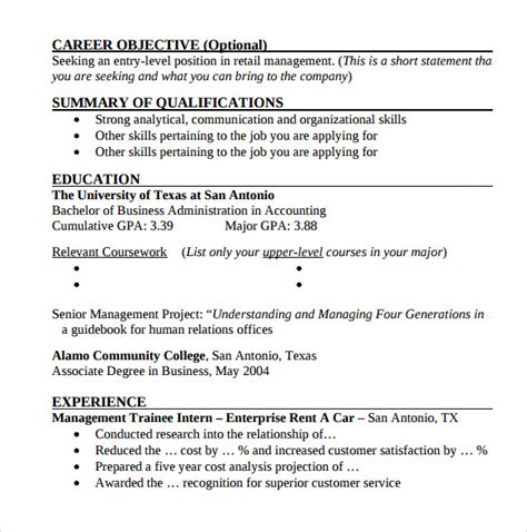 Entry Level Resume Template Docs by Sle Entry Level Resume 8 Documents In Pdf Word