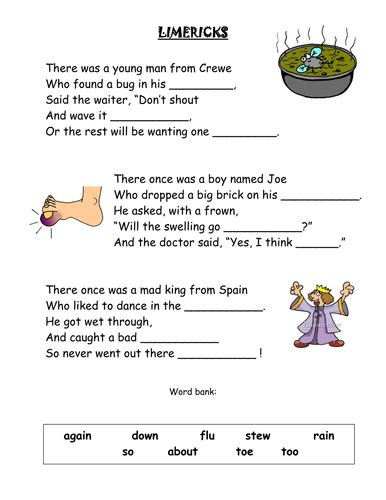 limericks cloze activity by yarwood10 teaching resources