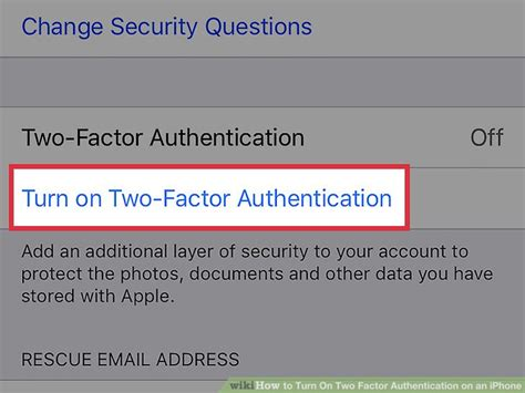 how to turn on two factor authentication on an iphone 7 steps