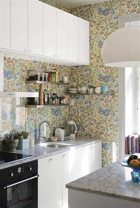 wallpaper in kitchen ideas kitchen wall storage ideas