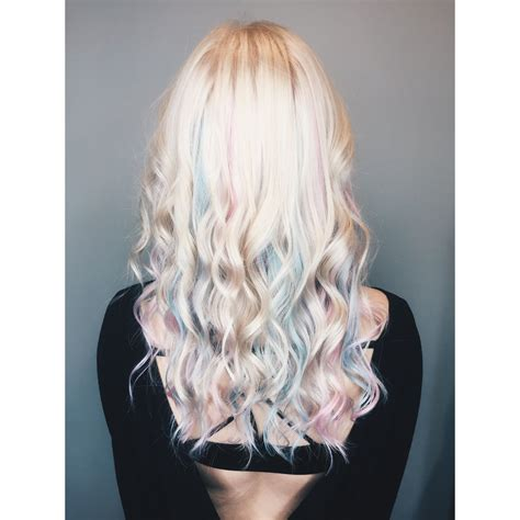 Beautiful Pastel Pink And Blue Hair With Platinum Blonde