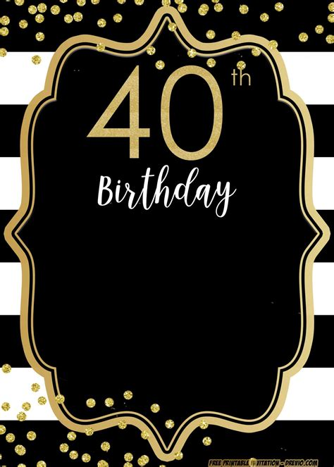 FREE Printable 40th Invitation Templates UPDATED 40