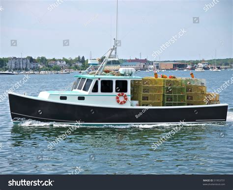 Deck Boats For Sale Maine by Commercial Fishing Boat Lobster Boat Leaving Stock Photo