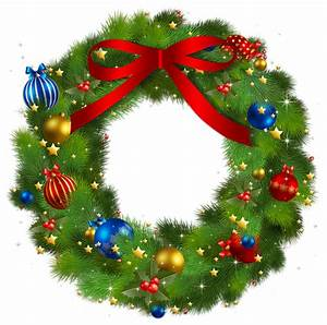 Transparent Christmas Pine Wreath with Red Bow PNG Picture ...