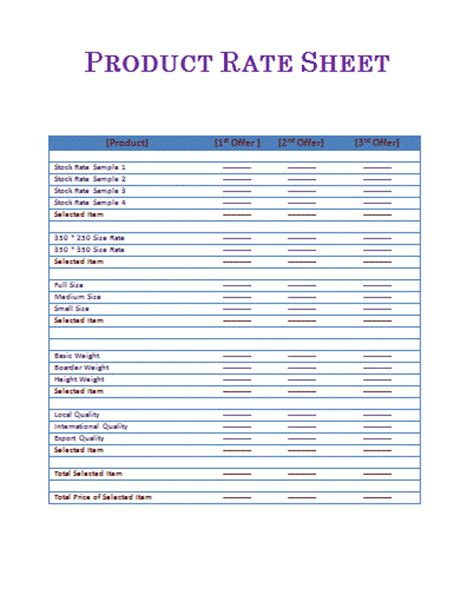 rate sheet template  word templates