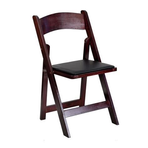 mahogany finish wood folding chair with padded black vinyl