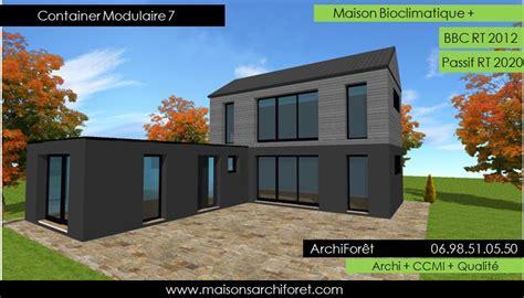 plan de maison de plain pied avec 3 chambres maison container modulaire ossature bois d architecte