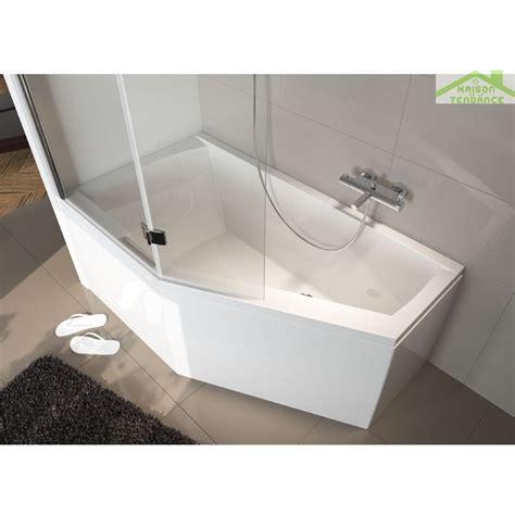 baignoire acrylique riho geta d angle 160x90 cm avec une