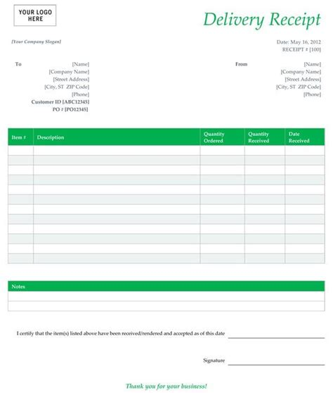 delivery receipt form template  receipt template