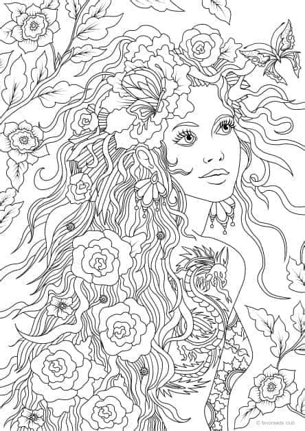Girl with a Tattoo - Printable Adult Coloring Pages from