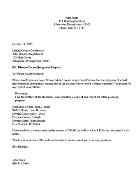 divorce source divorce record request letter