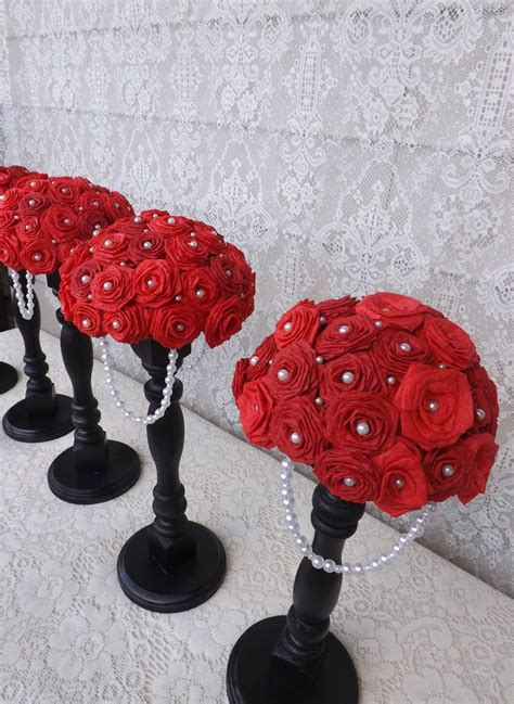 Black Red And White Wedding Centerpieces Paper Red Roses