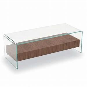 Table Verre Bois : table basse en verre avec tiroir en bois bridge sovet 4 pieds tables chaises et tabourets ~ Teatrodelosmanantiales.com Idées de Décoration