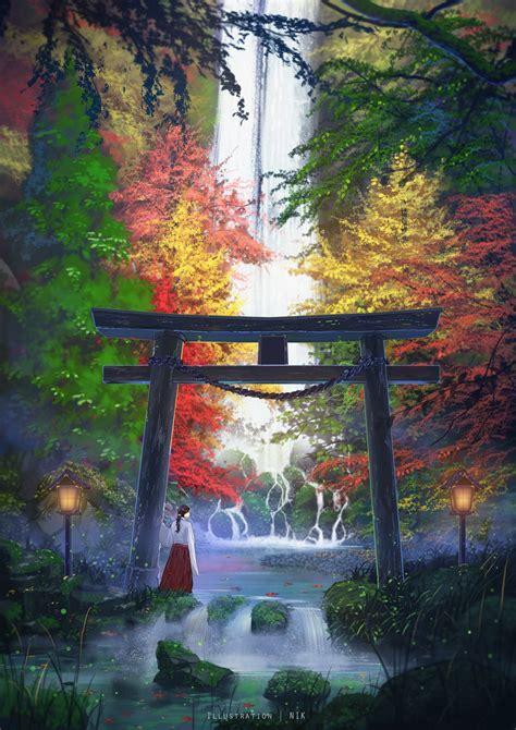 japanese women digital art artwork portrait display drawing illustration trees torii