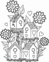 Birdhouse Garden Coloring Pages Fairy Bird Drawing Houses Adult Birds Adults Colouring Detailed Sheets Drawings Gardens Cartoon Fantasy Da Books sketch template