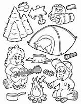 Coloring Camping Tent Campfire sketch template