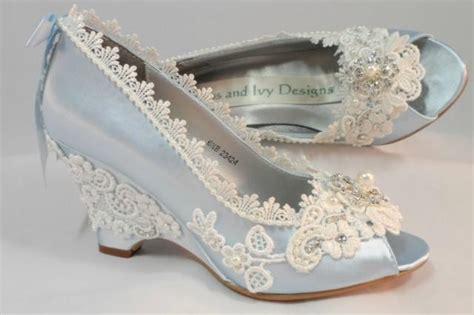 Light Blue Wedding Wedges, Lace Wedge, Bridal Peeptoe