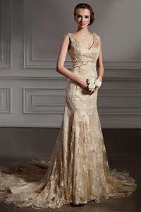 white and gold wedding dresses with lace naf dresses With wedding dresses with gold detail