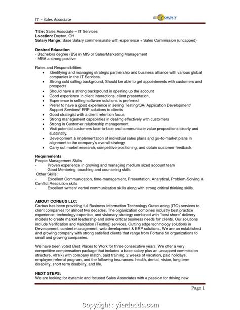 Sales Description Resume by Professional Sales And Marketing Description For