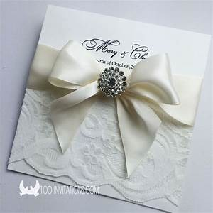 elegant lace wedding invitation with ribbon bow rhinestone With wedding invitations with ribbon and brooch