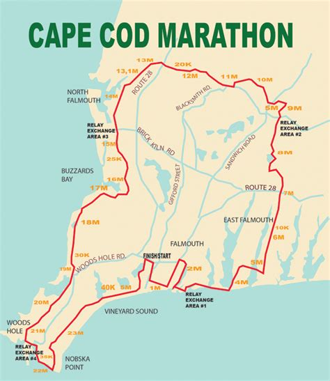 Marathon Route Map  Cape Cod Marathon Weekend Falmouth