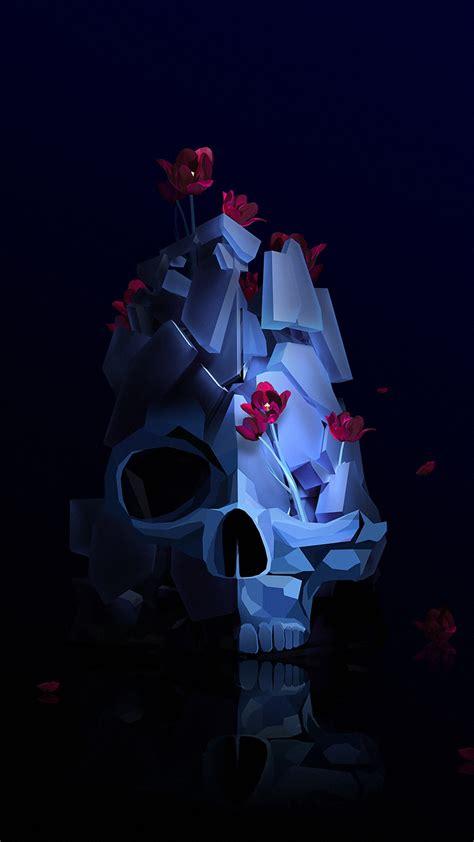 wallpaper skull flower  hd abstract
