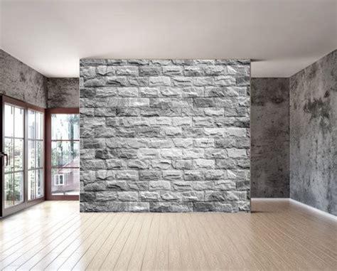 grey brick texture wall mural   repositionable peel