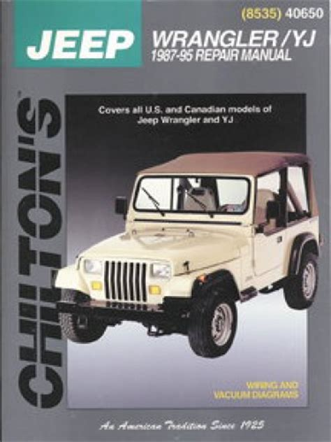 free online car repair manuals download 1999 jeep wrangler electronic throttle control chilton jeep wrangler yj 1987 2011 repair manual