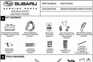 Subaru 2008 Remote Starter Installation Instructions