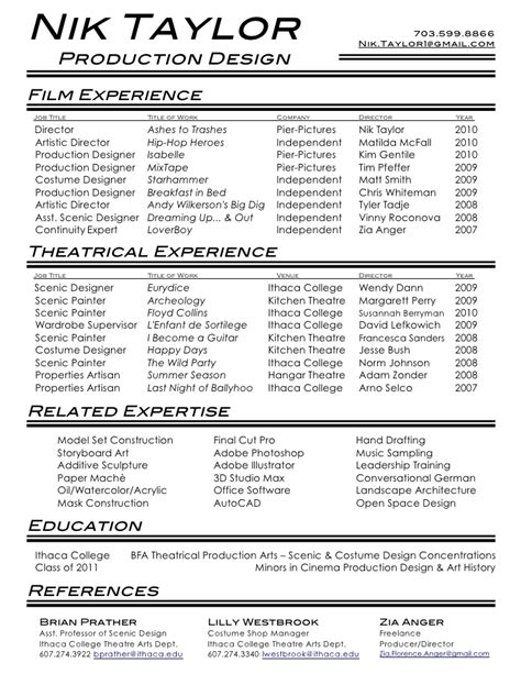 Filmmaking Resume Skills by Theatre Resume