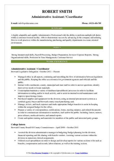 administrative assistant coordinator resume sles