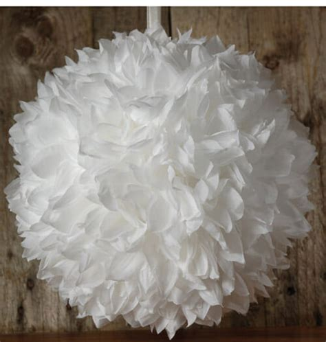 large white  silk flower ball  ribbon