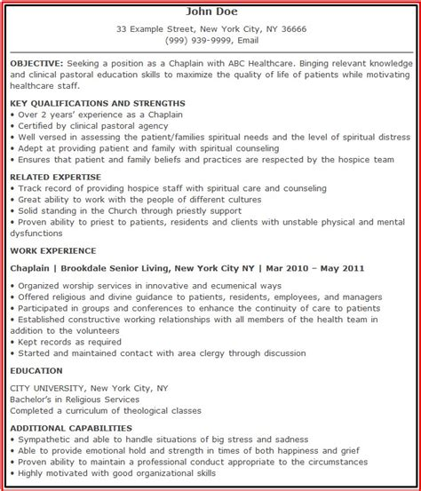 Hospital Cook Description For Resume by Resume Hospital Chaplain Resumes Design