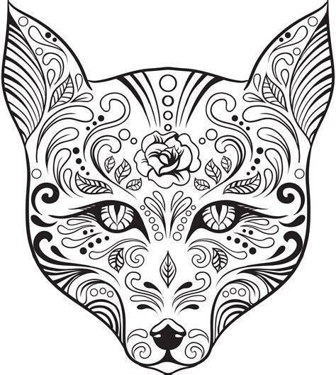 Coloriage Gratuit Renard Skull Candy Artherapieca