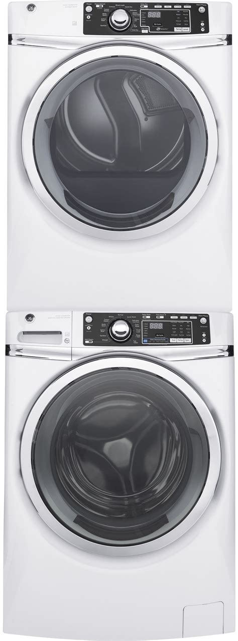 ge gewadrwg stacked washer dryer set  front load washer  gas dryer  white