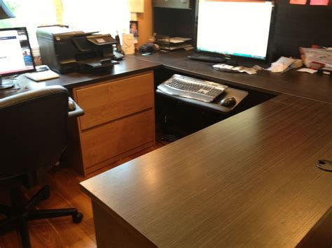 custom melamine  shaped desk  peabody enterprises