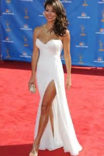 graduation gown burke carpet dress strapless white chiffon side
