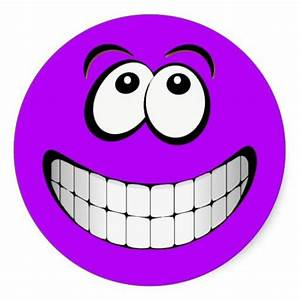 Purple Crazy Eyes Smiley Face Round Sticker | Smiley faces ...