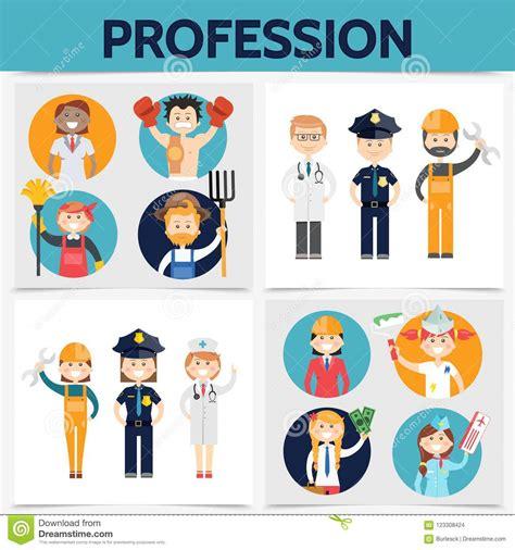 concepto cuadrado de las profesiones planas ilustraci 243 n