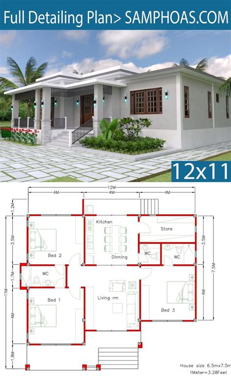 House Design with Full Plan 12x11m 3 Bedrooms Simple