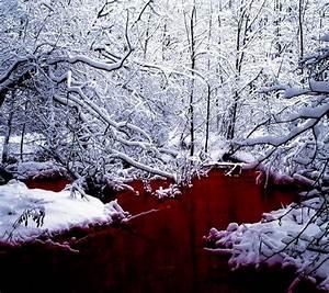Blood, River, Dark, Manipulation, Photoshop, Selective, Coloring, Nature, Landscape, River